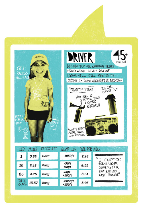 Hood To Coast Character Card. Driver.