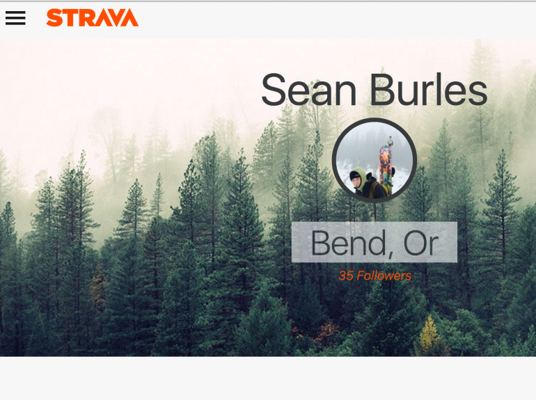 front page of my Strava App